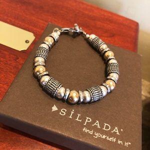 Silpada Sterling & 14K Gold Beaded Toggle Bracelet